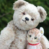 "Antique Teddy Bear Schuco Schreyer Yes No Teddy Bear 20"" mechanical & Steiff Cat"