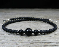 Black Onyx Anklet - Thin Black Ankle Bracelet - Sterling Silver Clasp