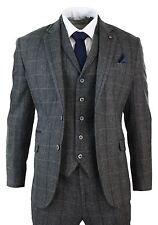 Costume 3 pièces homme tweed classique à chevrons et carreaux gris bleu  cintré a86d0bbe975