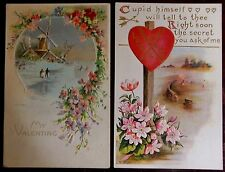 Lot 2 Antique Vintage Valentine Postcards-Windmill Snow Scene & Tennis Love
