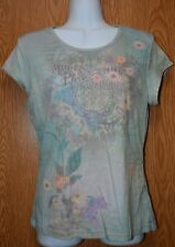 Womens Pretty Floral Riveted Susan Lawrence Cap Sleeve Shirt Size Medium exc