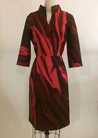 NWT Oscar de la Renta Merlot Red Mikado Silk Print Fitted Shirt Dress 6 $2155