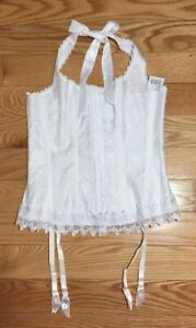 NWT Size 36 Corset Garters Fredricks of Hollywood Solid White Satin Lace-Up 7005