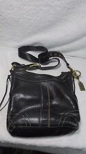 BLACK LEATHER COACH SHOULDER PURSE HAND BAG F06S-10398 CROSSBODY BUCKLE BRASS