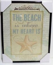 The Beach is where My Heart is.   Inspirational Wall Picture, Wall Plaque (NEW)