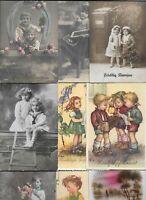 Mixed Lot Vintage Beautiful Kids Portrait Playing Postcard Lot of 20 01.17