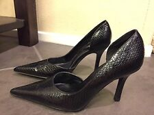 Diba Womens Shoes Sz 8.5M Black Faux Leather Pointed Toe Ankle Strap High Heels