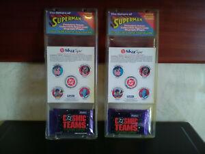 x2 Vintage DC Superman Skycaps & Cards ~ 1990s (New)