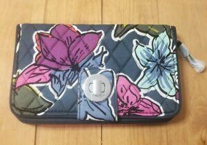 Vera Bradley RFID Turnlock Wallet in Falling Flowers New With Tags!