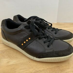 Ecco Men's Street Retro Brown Spikeless Golf Shoes Lace Up Size 43 US 9 / 9.5