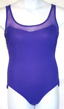 Carol Wior Womens 12 Blue Purple Mesh No Wire Soft Cup One Piece Swimsuit EUC