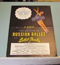 1945 Russian Ballet New York Metropolitan Opera House Brochure Alicia Markova