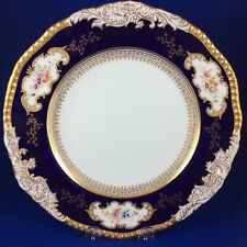 "Antique Coalport Panelled Floral Cobalt Blue 10.25"" Dinner Plate"