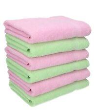 Betz Lot de 6 serviettes de toilette Palermo 50x100cm vert & rose