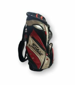 Titleist DISTRESSED Cart Bag with 14-way Dividers & Rain Cover Black White Red