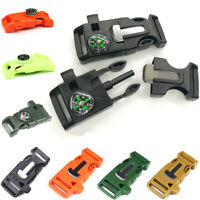 5PCS Survival Release Buckle Whistle Flint Fire Starter For Paracord Bracelet