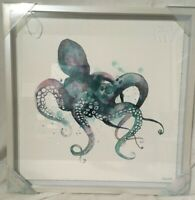 """Eyre Tarney Octopus Wall Art Print Framed Picture 18"""" X 18""""  Marmont Bath Decor"""