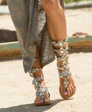 Woman Rhinestones Sandals Chains Gladiator Summer Boot Crystal Flat Shoes 40