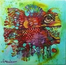 Funny Pescado/original al óleo sobre lienzo estirada por Sergej hahonin/30x30cm