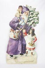 Antique Large German Father Christmas Santa Die Cut Easel Back ca1880