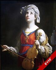 SAINT ST CECILIA PATRON OF MUSIC HOLDING VIOLIN PAINTING ART REAL CANVAS PRINT