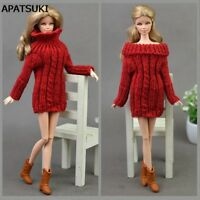 """Red Knitted Woven Handmade Doll Sweater Tops Coat Dress Clothes For 11.5"""" Doll"""