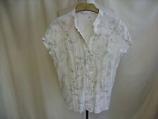 """Ladies Blouse white & teal/brown embroidery, V-neck, bust 36-38"""" length 23"""" 1402"""