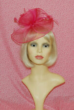 Elegant Hot Pink Disc Fascinator With Flower & Feathers on Head Band.