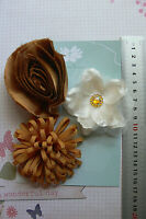 IVORY & GOLD 2 Roses All Fabric 3 Flower Mix approx 75-85 mm across Green Tara E