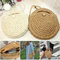 Women Bohemia Straw Bag Woven Round Rattan Handbag Summer Beach Crossbody Bags