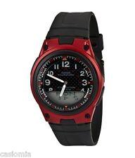 Casio AW80-4B Mens Black Red 30-Page Data Bank Analog Digital Watch 50M NEW