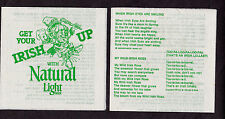 10 Natural Light Beer St. Patrick's Day Napkins w/6 Irish Songs Budweiser 1980s