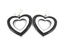 Drop Dangle Large Black & White Heart Shape Retro Hoop 70's 80's Earrings
