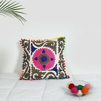 16'' Indian Embroidery Cushion Cover Suzani Throw Floral Decor Cotton Pillow