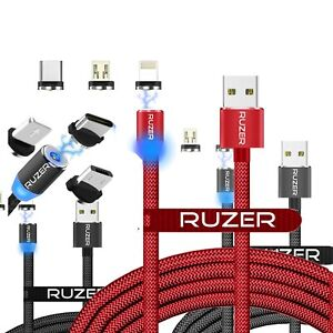 RUZER Mag Volt magnetic safe iPhone Samsung USB C, micro Power Charge sync cable