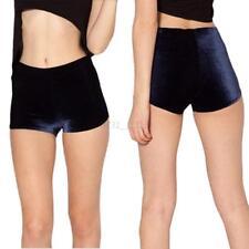 Women Ladies High Rise Hot Pants Elastic Shorts Bottoms Crushed Velour Velvet