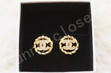 EUC Vintage chanel gold CC clip on round earrings with crystals