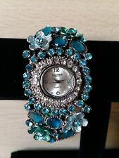 Figaro Couture Blue Flower Bracelet Watch