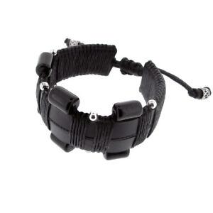 Leather chunky black / Onyx gem stone, wristband bracelet -  21- 26 cm