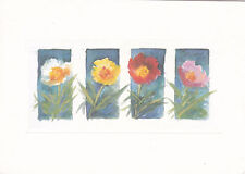 Various Flowers in Watercolour Unknown Postcard used VGC
