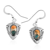 Santa Fe Style 925 Sterling Silver Spiny Turquoise Drop Dangle Earrings Ct 0.8