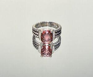 David Yurman 10x8mm Tourmaline and Diamond Petite Wheaton Ring