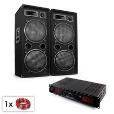 JUEGO SONIDO PA 2 ALTAVOCES 1000W AMPLIFICADOR HIFI BLUETOOTH USB MP3 LUZ LED