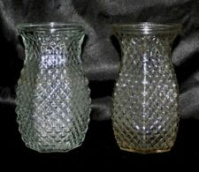 "Lot of 2 Hoosier Glass Clear Vases Diamond Pattern #4071 5 1/2"" Tall Hexagon"