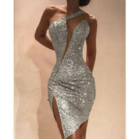 Womens Sexy Glitter Sequins Off Shoulder Bodycon Wrap Dress Slim Fit Ball Gown