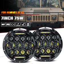 For Off-Road Hummer H1 H2 Head Light Bulbs 7Inch Round LED Headlight Hi/Low Beam