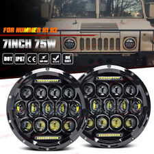 For Hummer H1 H2 7Inch Black Round LED Headlight Sealed Beam Lamp H4-H13 Adapter