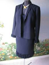 Albert Nipon Dress 2 Pieces Blue Cocktail Dress Jacket With Tulle Fringe Size 14