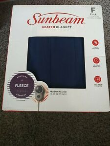 Sunbeam Heated Electric Blanket Royal Dreams Quilted Fleece Full blue