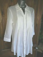Papaya 12/14 White Cotton 3/4 sleeve pleat front relaxed fit smart Shirt Blouse